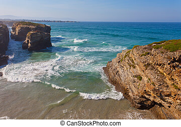 Portugal, waves of the Atlantic Ocean break about coastal...