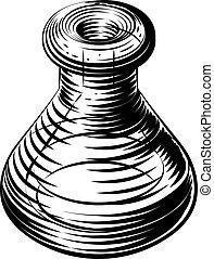 Vintage beaker or flask icon - A an original illustration of...
