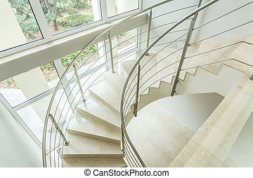 Winding stairs in luxury apartment - Close-up of winding...