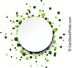 Round paper card over green confetti - Paper round card on...