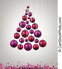 Christmas tree with magenta christmas balls. Vector...