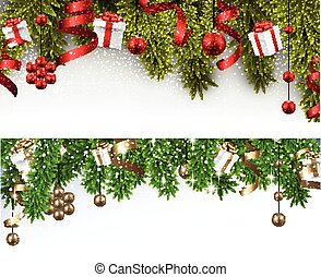 Christmas banners with spruce branches - Winter banners with...