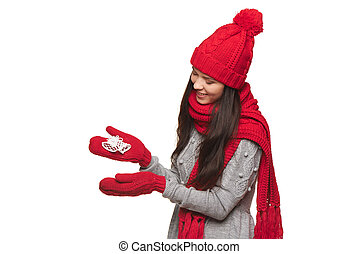 Woman with jingle bells - Christmas, Xmas, winter concept...