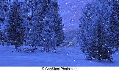 Little cabin in the snowy mountains - Nighttime view of the...