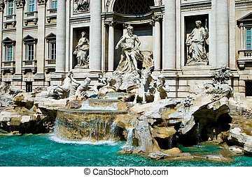 Trevi fountain in the city of Rome - Famous Trevi fountain...