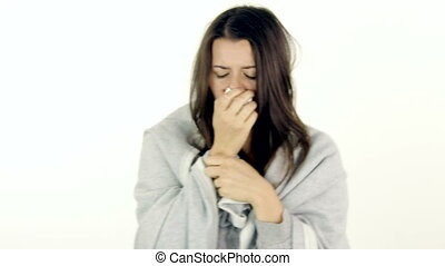 Sick woman checking fever coughing isolated