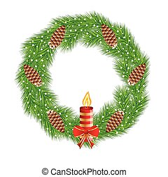 christmas chaplet with  cones and candle,vector illustration