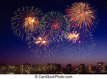 Firework over a city. - Beautiful firework display over a...