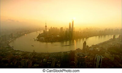 Shanghai landmark aerial - Lujiazui,the center of Shanghai...