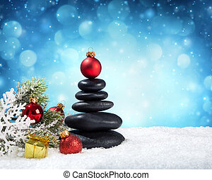 spa stones - in christmas