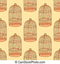 Sketch bird cage in vintage style, vector seamless pattern