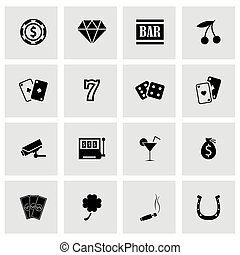 Vector black casino icons set on grey background