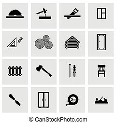 Vector black carpentry icons set on grey background
