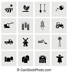 Vector black farming icons set - Vector black farming icons...