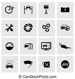 Vector black car service icons set on grey background