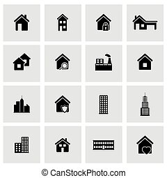 Vector black buildings icons set on grey background