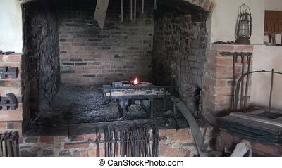 Blacksmith fireplace in old manor