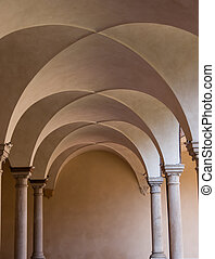 Groin vault in Basilica of San Francesco, Ravenna. Italy
