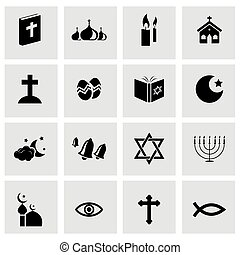 Vector black religion icons set on grey background