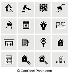 Vector black real estate icons set
