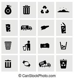 Vector black garbage icons set