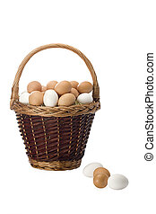 Basket with eggs - Basket of fresh eggs isolated on white...