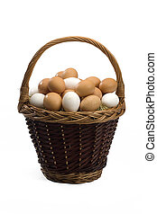 Basket of fresh eggs isolated on white background in studio