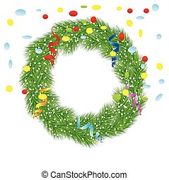 christmas chaplet with a serpentine and confetti,vector...