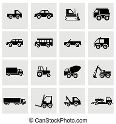 Vector black vehicles icons set on grey background