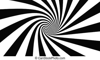 Black and white hypnotic spiral in perspective