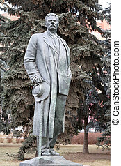 Statue of Maxim Gorky Park is photographed close-up