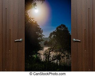 open door Quarter - open door view night landscape with the...