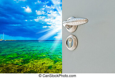 Open door to the sky - open white door with a view of the...