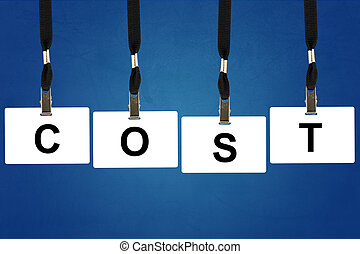 accounting cost word on badge with blue background