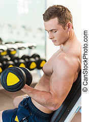 Exercising with dumbbells. Rear view of confident young muscular man training with dumbbell in gym