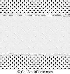 Black and White Polka Dot Frame with Torn Background - Black...