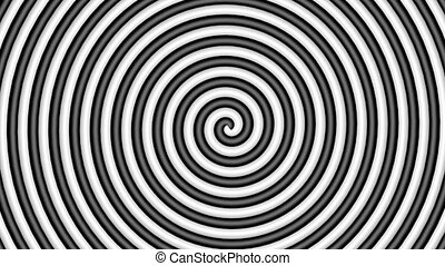 3D black and white hypnotic circle, loop
