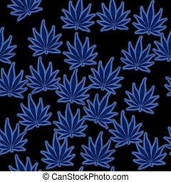 Blue Marijuana Leaf Pattern Repeat Background that is...