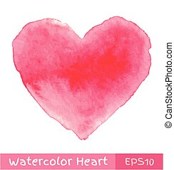 Pink Watercolor Heart, vector illustration