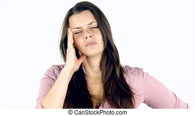 Woman with strong headache shouting