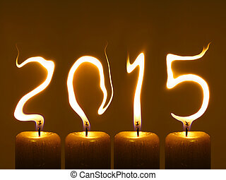 Happy new year 2015 - Modified photo of four candles. Flames...