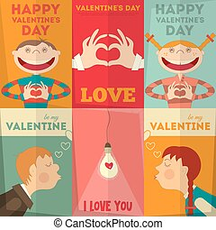 Valentines Day Posters Set in Cartoon Style. Vector...