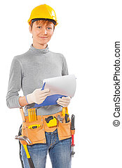 female wearing working clothes and construction tools...