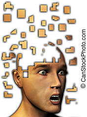 Mind Gone To Bits - Conceptual image of mental illness like...