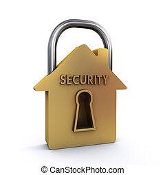 House padlock - House shaped padlock on the white background...