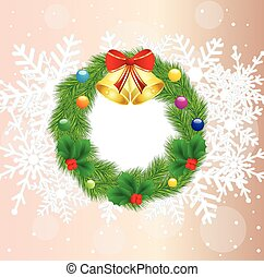 christmas chaplet with campanellis,  vector  illustration