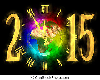 Happy new year 2015 - Europe, Asia and Africa