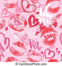 Seamless pattern with brush strokes and scribbles in heart...