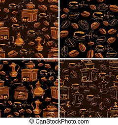 Set of 4 seamless patterns with handdrawn coffee cups,...