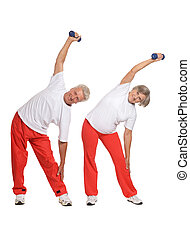 Elderly couple Exercising - Portrait Of A Senior Couple...
